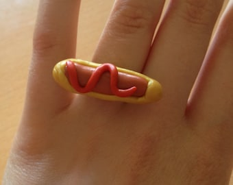 Handmade polymer clay Hot Dog ring with an adjustable back