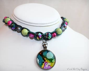 Essential Oil Diffuser Choker essential oil necklace hemp jewelry painted pendant resin art