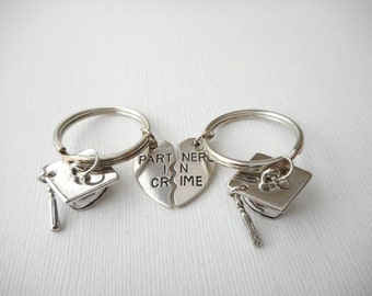 2 Partners in Crime, Graduation- Best Friend Keychains/ Graduation, Graduate, Graduation gift, Graduation Necklace, Gift for her, grad
