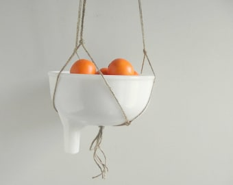 Juicer Attachment , Repurposed Hanging Fruit Basket , Juice Adapter Hanger , Retro Kitchen , Vintage White Milk Glass Bowl