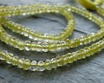 Lemon Quartz micro faceted rondelles, FULL 13.5 inch strand, 3mm (12k2)