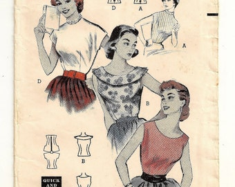 "A Set of Sleeveless & Cap Sleeve Blouses with Neckline Variations Sewing Pattern for Women: Retro Size 12, Bust 30"" • Butterick 6886"