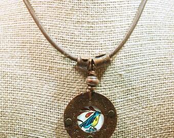 Upcycled Tin Blue Bird Necklace