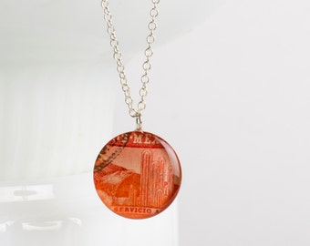 Large necklace | Postage stamp | Mexico | Red