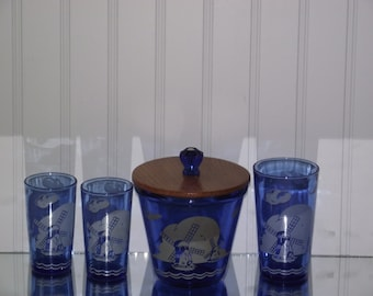 "A rare collection of Hazel Atlas ""Windmill"" pattern in cobalt blue, circa 1930's"