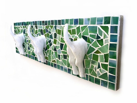 Mosaic Leash Holder, Mosaic Leash Hooks, Dog Butt Leash Holder, Dog Tails Leash Holder, Green Blue Mosaic Leash Holder Hooks, Dog Owner Gift