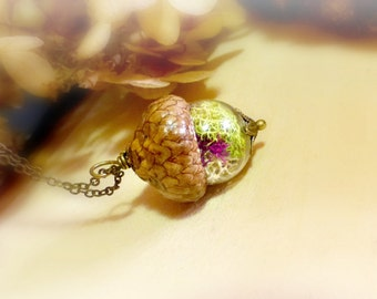 Real moss necklace  Acorn jewelry gift for her  Nature plant pendant  Woodland forest jewelry  Botanical vial necklace  Bridesmaids gift