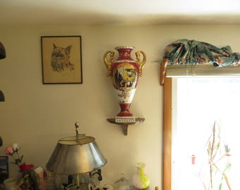 Vintage ceramic porcelain vase with handles, large