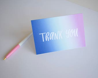 Beautiful Gradient Calligraphy Thank You Cards - Blank Inside, Envelopes Included