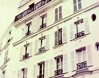 Paris Print, Apartment, Large Wall Art, Paris Decor, White, Neutral Home Decor, Dreamy, Shabby Chic, Fine Art Photography, Architecture
