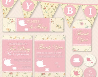 Tea Party Birthday Invitation, Thank You Card and Decoration Set