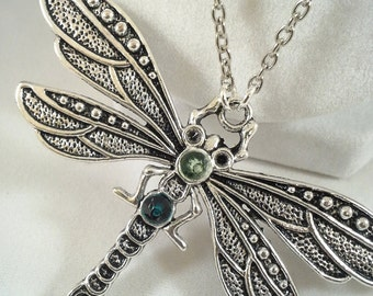 Long Dragonfly Necklace - Green Dragonfly Jewelry - Green Crystal Necklace - Long Dragonfly Pendant Necklace - Dragon Fly Jewelry