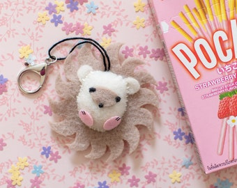 cute felt hedgehog keychain