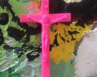 Neon pink Crucifix pin