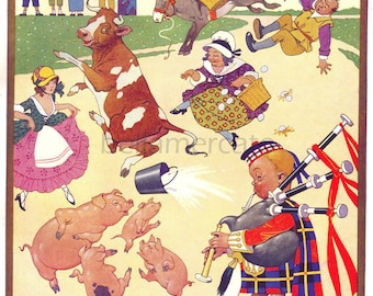 Tom He Was a Pipers Son Vintage Book Illustration by Lawson Wood Nursery Rhymes Illustration