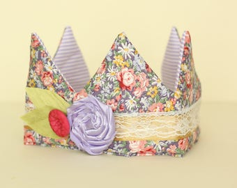 Lilac Floral Fabric Crown with Lilac flower trim