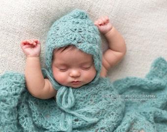 Pattern- Crochet Newborn Baby Lace Shell Bonnet Hat and Photography Wrap, Crochet Newborn Baby Alpace Silk Blend Photography Set Pattern