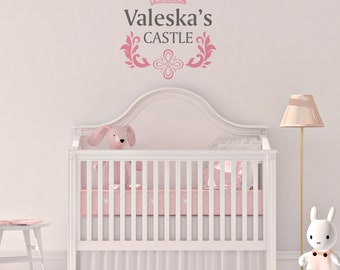 girls room wall decal personalized name princess castle theme removable vinyl in silver or gold metallic