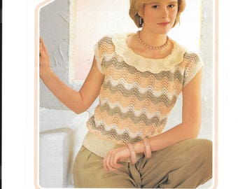 Original vintage knitting pattern by Wendy.  Ladies top in 4 ply wool to fit sizes 32-42 inch chest.