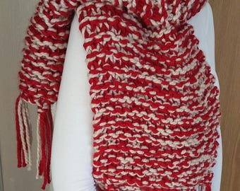 Hand knitted super soft super chunky red and white scarf with fringe