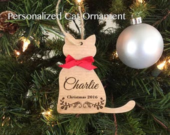 Personalized Christmas Pet Ornament, Christmas Ornament, Cat Ornament, Personalized Cat Ornament, Cat Lover, Engraved Pet Ornament