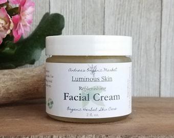 Organic Facial Cream, Natural Unscented Facial Moisturizer, Botanical Face Cream, Cocoa Butter Cream, Gluten Free Skin Care Product