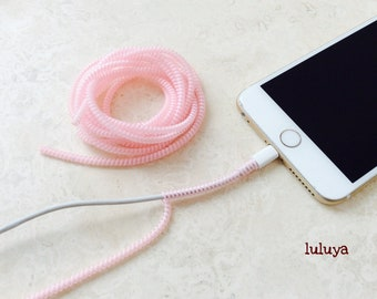 4 Pink Clear Spring Spiral Wrap Around Cord Protectors for Iphone Samsung Cellphone Tablet Charger Cable Earphone Earbuds