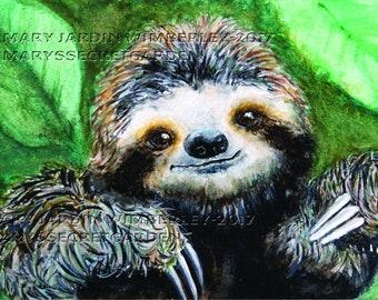 Sloth Painting, Watercolor Sloth, Baby Sloth, Tropical Forest Art, Watercolor Animal Print, Nursery Decor, Sloth Totem Animal