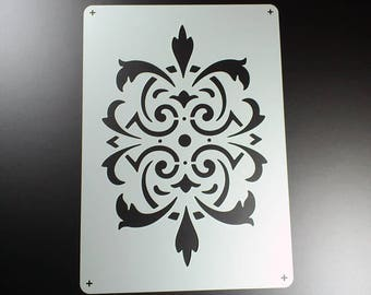 Stencil Baroque Ornament Damast Damask-BE09