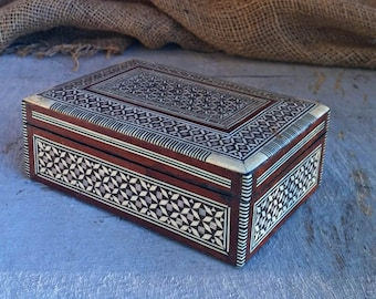 Micro Mosaic Box, Vintage Jewelry Box, Moroccan Wood Box, Marquetry Box, Collector's Box Islamic Pattern, Ottoman Brown Beige Trinket Box