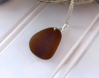 Amber Brown Sea Glass Petal Pendant