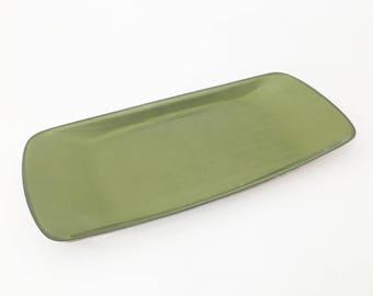 Vintage Cathrineholm Cathedral Series Strek Pattern Green Enamel Stainless Steel Plate