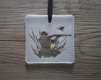 Duck Hunting Fused Glass Ornament / Sun Catcher; Hunter; Gun; Outdoors; Husband; Gift for Him; Gifts Under 15