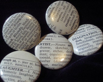 Vintage Dictionary 25 Custom Pin Back Buttons Your Word Choice