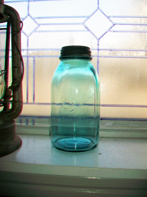Vintage Blue Ball Mason Jar Half Gallon 1910 to 1923 Blue Canning Jar