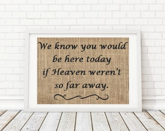 We know you would be here today if heaven weren't so far away Sign, In Memory of Sign, Wedding Remembrance Sign, Memorial Sign