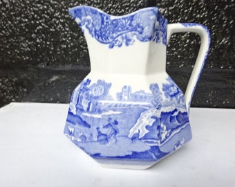 "Copeland Spode Blue ""Italian"" Octagon Jug/Pitcher/Creamer/Spodes Italian/Blue and White/Vintage Spode/Tableware/Collectable/1930s"