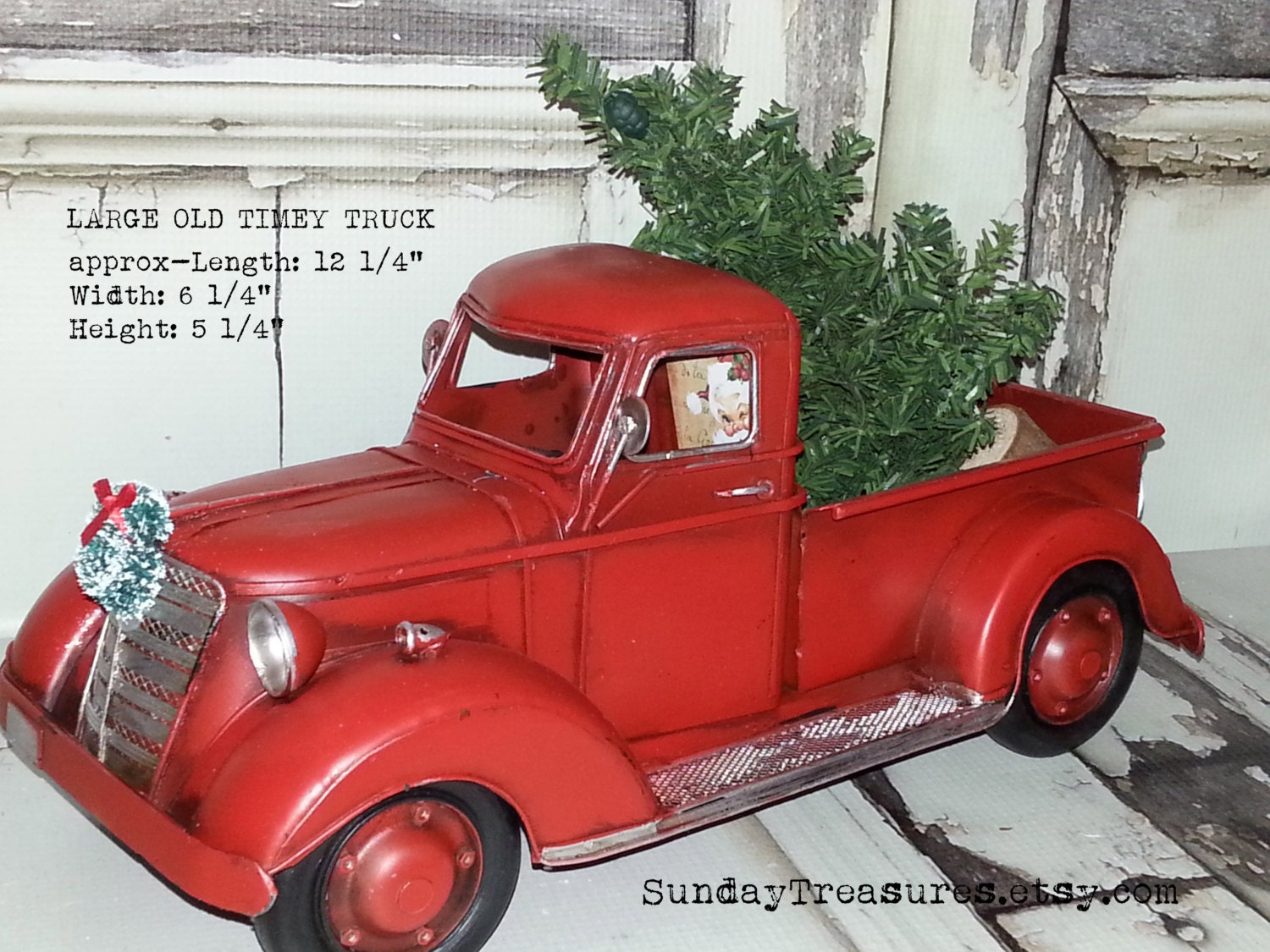 SALE Large Metal Old Fashioned Red Truck Christmas Decor /