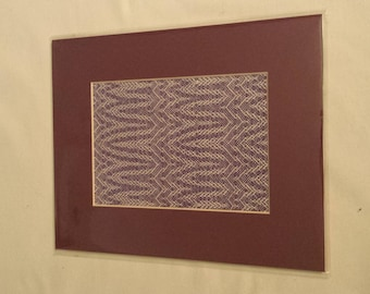 Plant Rising - Handwoven Twill weave matted textile art, purple and white 8x10