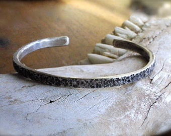 Savage Sterling Cuff Bracelet for Men - Rough, Rustic and Unrefined