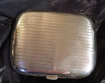 Antique cigarette case, 1920s cigarette case, silver cigarette case, antique trinket box, hinged cigarette case, Art Deco cigarette case