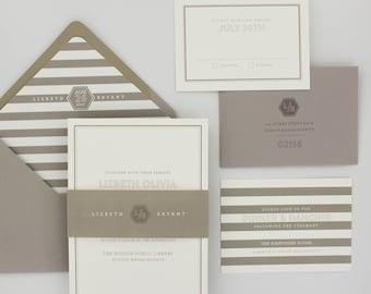 Wedding Invitations, Modern Wedding Invitation, Classic, Stripes, Urban Chic - Revere Wedding Invitation Deposit