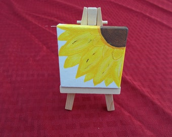 Miniture Sunflower Canvas with Easel, Custom