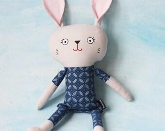 Bunny softie cloth doll plushie, nursery decor new baby toy
