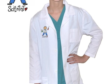 Kids Science Lab Coat with Scientist Embroidery Design
