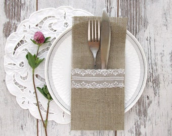10 Silverware holders, Burlap cutlery holders, Rustic silverware holders, Wedding burlap decor, Silverware holders with white lace