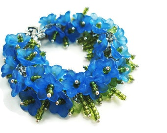 Flower Bracelet Statement Jewelry Blue Bracelet Floral Jewelry Charm Bracelet Bead Jewelry Silver Bracelet Blue Jewelry Boho Bracelet Gift