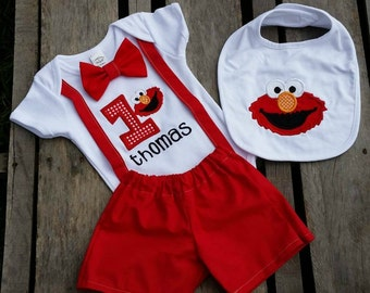 Boys Elmo Inspired Birthday Outfit with Bowtie and Suspenders