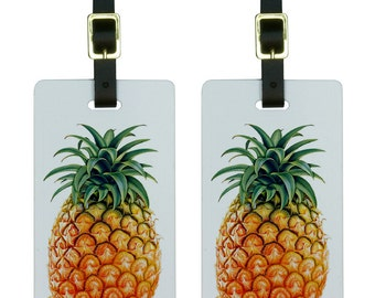 Pineapple Luggage Tags Suitcase Carry-on ID  Set Of 2