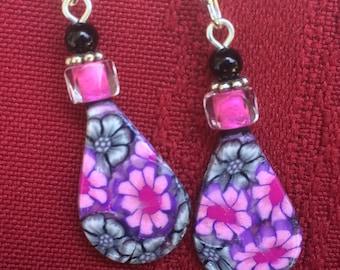 Pink & Black- Polymer Clay Earrings